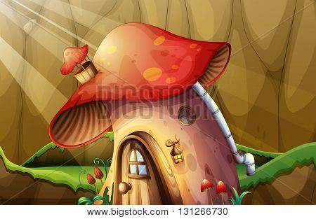 Mushroom house in the garden illustration