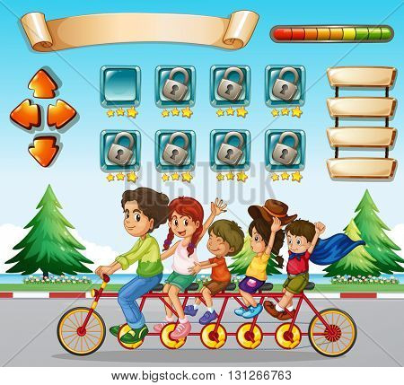 Game template with family riding bicycle illustration