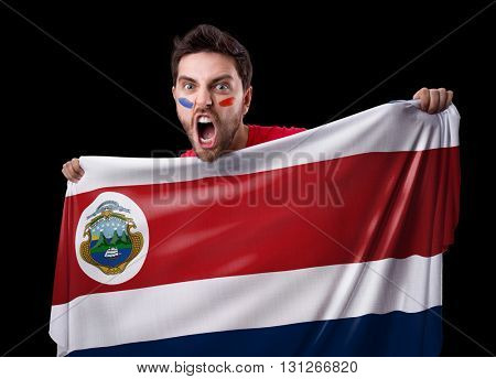 Fan holding the flag of Costa Rica