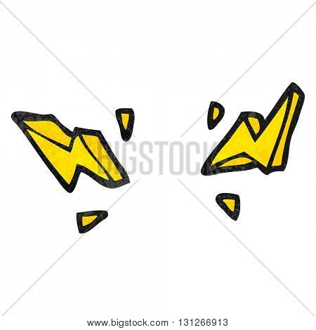 freehand textured cartoon decorative doodle lightning bolts
