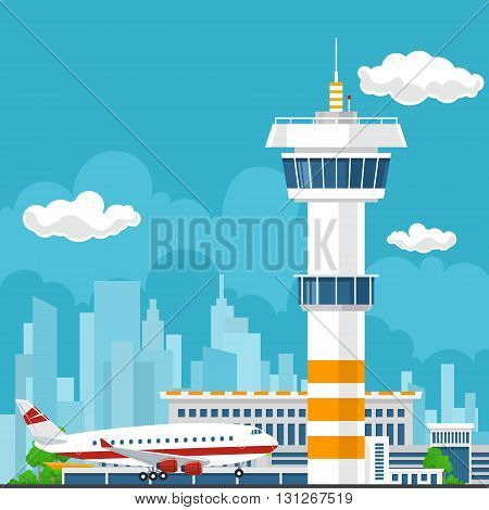 Arrivals at Airport, Control Tower and Airplane on the Background of the City, Travel and Tourism Concept, Air Travel and Transportation, Vector Illustration