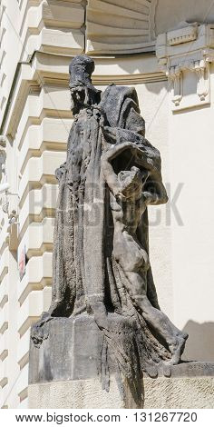statue of Rabbi Loew on Marian Square in Prague - Old Town. Czech Republic