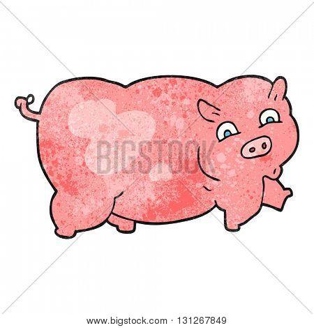 freehand textured cartoon pig