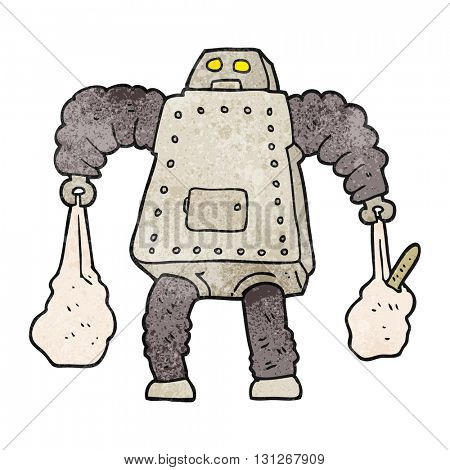 freehand textured cartoon robot carrying shopping