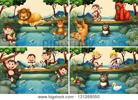 Four scenes with wild animals in the river illustration