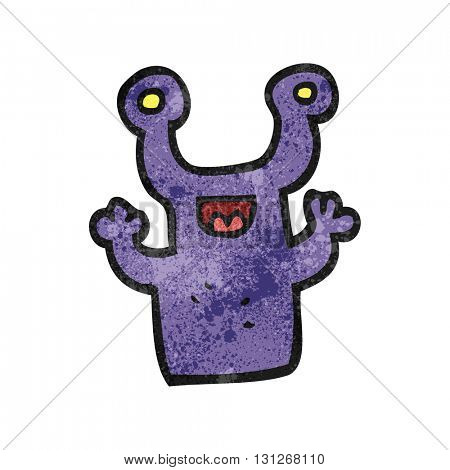 freehand textured cartoon little alien