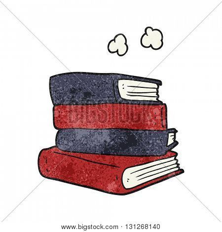 freehand textured cartoon stack of books