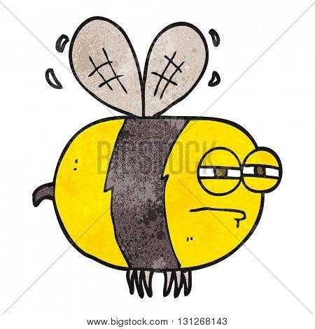 freehand textured cartoon unhappy bee