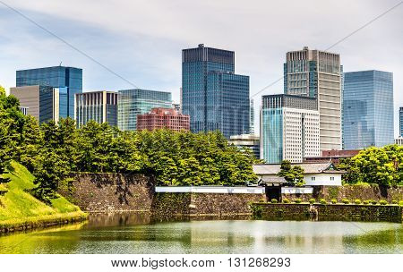 Skyscrapers near the Imperial Palace in Tokyo, Japan