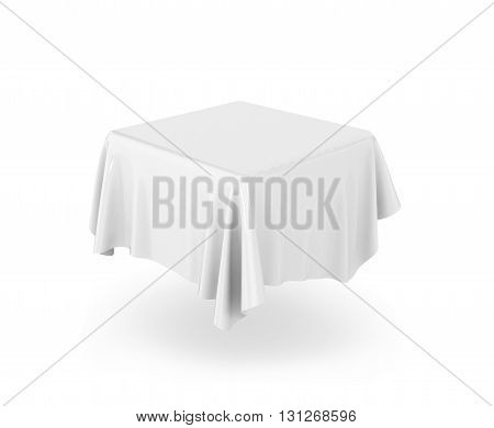 Blank tablecloth. 3d illustration isolated on white background