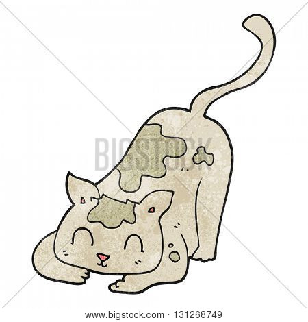 freehand textured cartoon cat playing