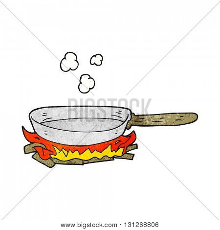 freehand textured cartoon frying pan on fire