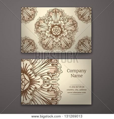 Brown business card with flower and Ornaments in Baroque Style.