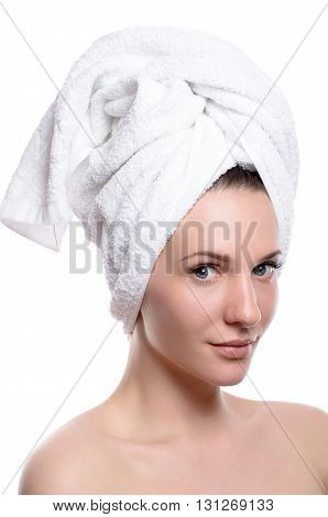 Beauty Woman Wearing Hair Towel After Spa Treatment