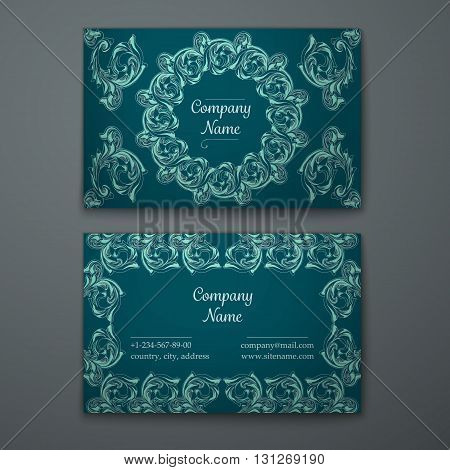 Emerald business card with flower and Ornaments in Baroque Style.