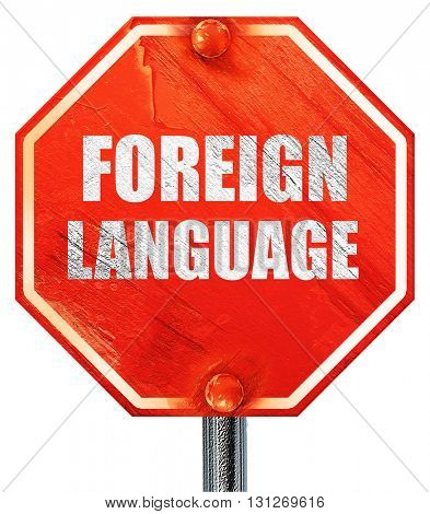 foreign language, 3D rendering, a red stop sign