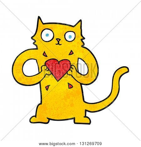 freehand textured cartoon cat with love heart