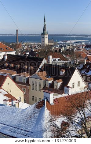 The tower of the church of St. Olaf against the Port of Tallinn and the Baltic Sea