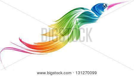 Abstract stylized multicolored flying bird on a white background