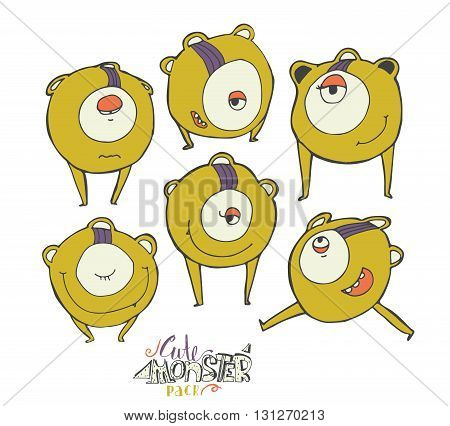 Vector colorful illustration with yellow cute monster character isolated on white. Hand drawn alien in different emotions and poses smiling running standing with closed and open eye.