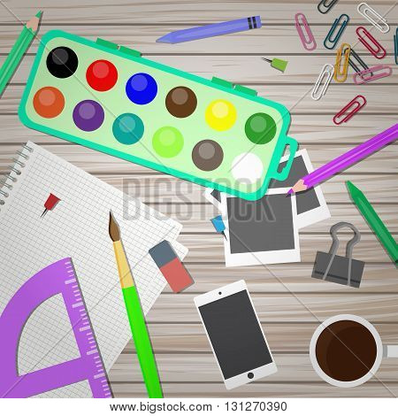 Artist and designer desk. Vector illustration in flat style. Top view of creative table background.