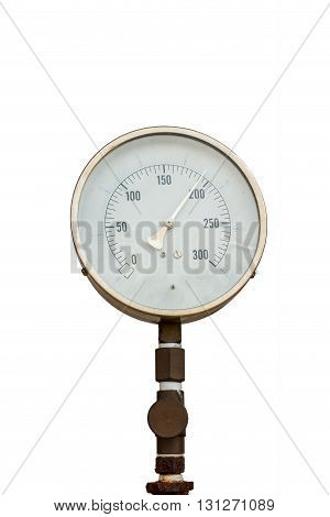 Pressure gauge for measuring pressure of fire protection system on isolate white background.