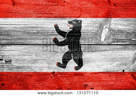 Flag Of Berlin, Painted On Old Wood Plank Background