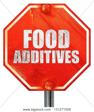 food additives, 3D rendering, a red stop sign