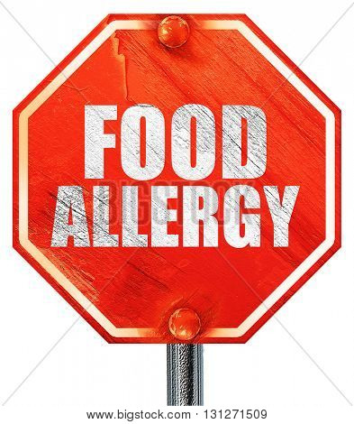 food allergy, 3D rendering, a red stop sign