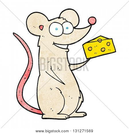 freehand textured cartoon mouse with cheese