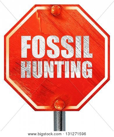 fossil hunting, 3D rendering, a red stop sign