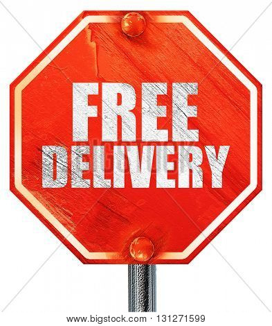 free delivery, 3D rendering, a red stop sign