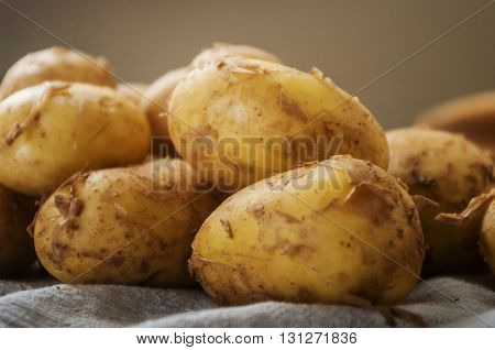 fresh tasty new potatoes. Selective focus close up