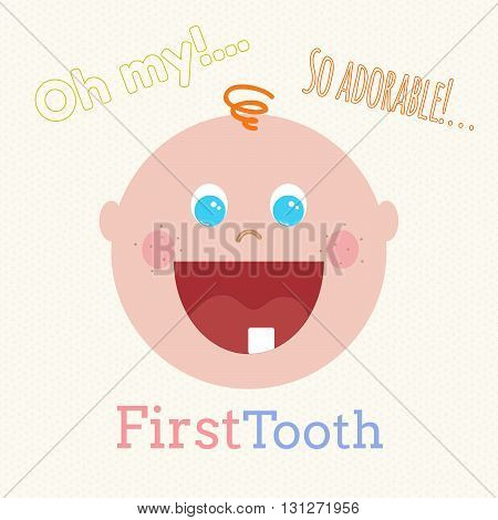 Cute baby first tooth vector concept. Little baby infant flat cartoon. First tooth vector concept. Cute little baby smiling. Vector hand drawn baby boy.