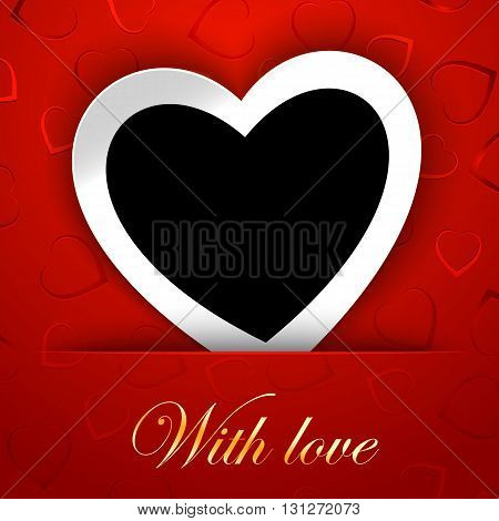 Love Card Template With Blank Photo Frame Heart Shaped