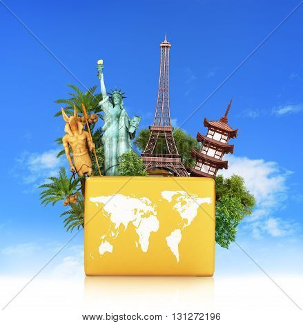 Travel the  monument concept yellow suitcase isolated against the sky. 3d illustration