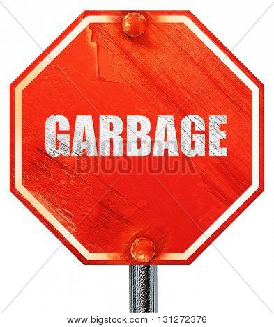 garbage, 3D rendering, a red stop sign