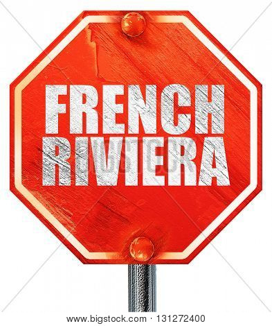 french riviera, 3D rendering, a red stop sign