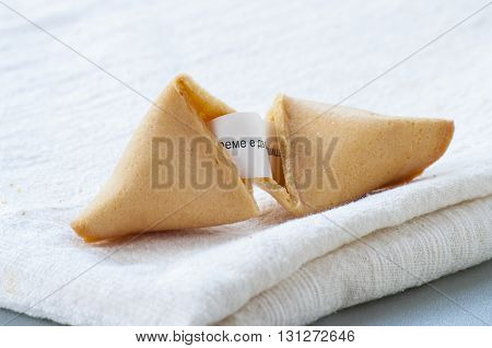 Fortune cookie close up on white background