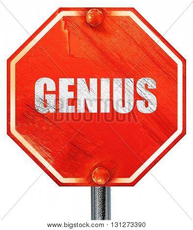 genius, 3D rendering, a red stop sign