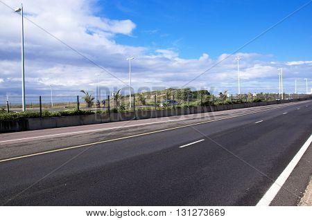 Empty Beachfront Highway Heading Into City Center