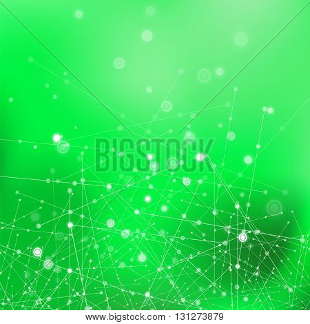 Green Technology Background with Particle, Molecule Structure. Genetic and Chemical Compounds. Communication Concept. Space and Constellations.