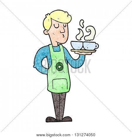 freehand textured cartoon barista serving coffee