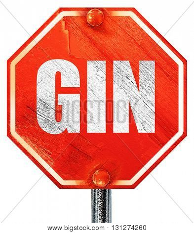 gin, 3D rendering, a red stop sign
