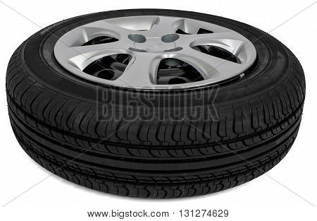 New automotive wheel with wheel cap isolated on white background
