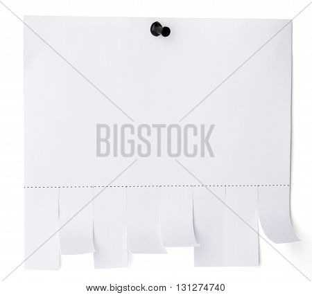 Tear off paper notice with copy space for text on white wall. Isolated