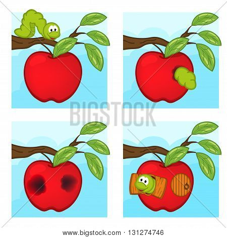 worm and apple - vector illustration, eps
