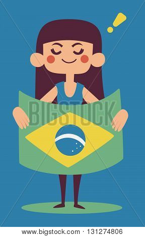 Cute Girl Holding A Brazilian Flag