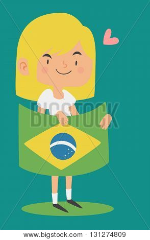 Cartoon Girl Holding A Brazilian Flag