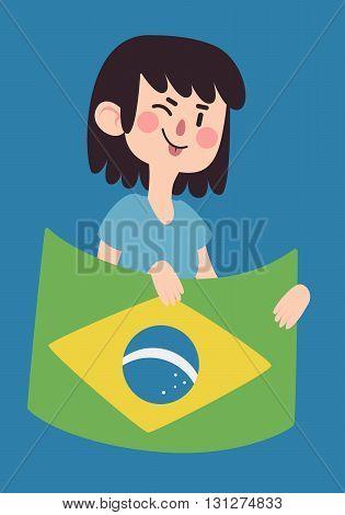 Winking Girl Holding A Brazilian Flag